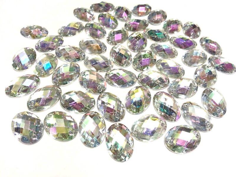CraftbuddyUS 50pc AB Clear 13X18mm Sew on Oval Diamante Crystal Rhinestone Gems