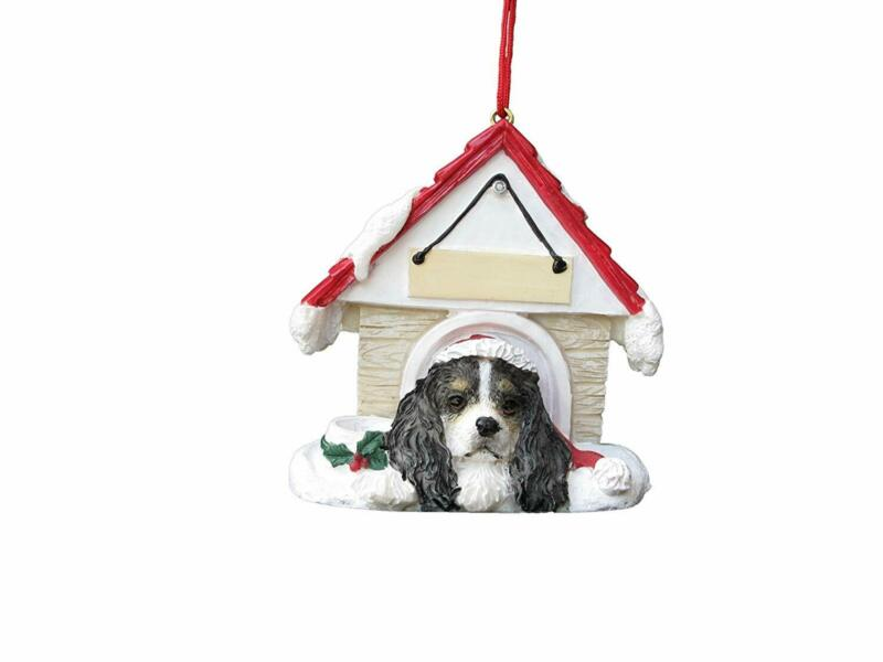 Cavalier King Charles Spaniel, Tricolor Doghouse Christmas Ornament