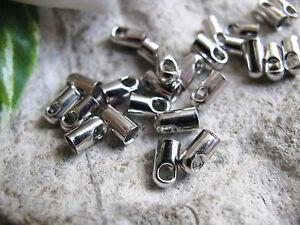 30 Endkappen Farbe Silber, für Baumwoll, Lederband, Schmuck und Perlen basteln