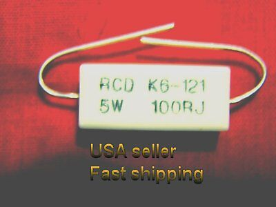 6 Pcs  100 Ohm 5w  5  Cemented Wirewound Resistor Free Shipping