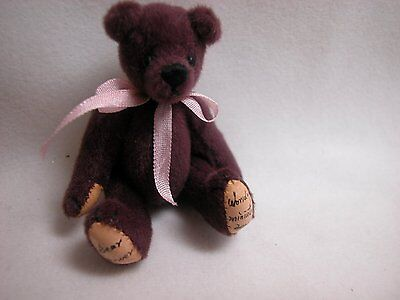 "World of Miniature Bears 2.5"" Plush Bear Wine #313 Collectible Miniature Bear"
