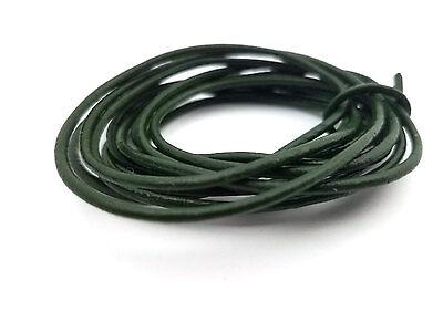 5 YARDS - 2MM Hunter Green Genuine Leather Jewelry Cord Round LT0004