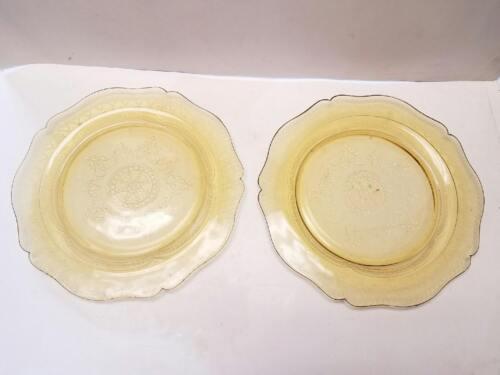 "Set of 2 Federal Glass Patrician Spoke Plate Platter Amber Depression Glass 11"""