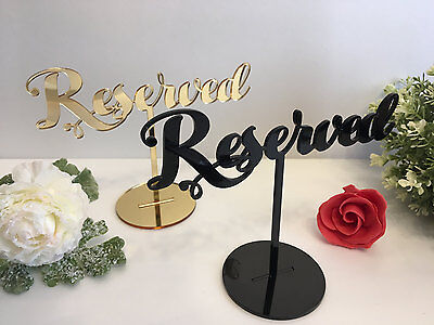 Reserved sign Reception Wedding Table Seating Signs Freestanding Gold Black Wood - Wedding Reception Signs
