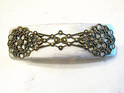 Silver painted and detailed metal hair clip barrette - Silver Hair Paint