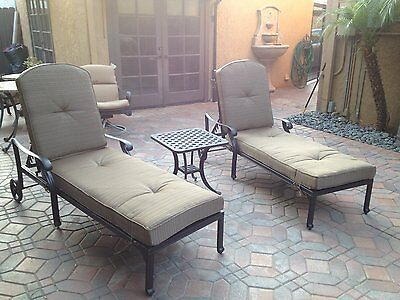 Nassau Patio - Nassau Outdoor Patio 2 Single Chaise Lounges And 1 End Table Cast Aluminum