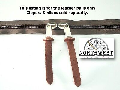 "Natural Suede Leather zipper Pulls 1/2"" X 4 15/16"" Brown 24 per lot ~ NW9099 for sale  Shipping to India"
