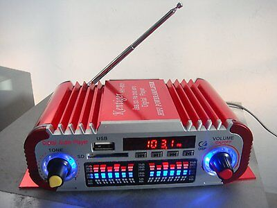 HY-601 Mini HiFi Digital FM Radio USB SD Audio MP3 Player Car Power Amplifier-US