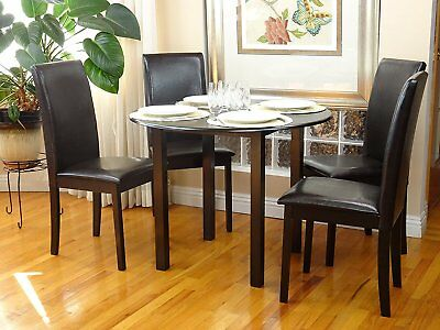 Dining Room Kitchen Set Round Table and 4 Fallabella Chairs Espresso Finish