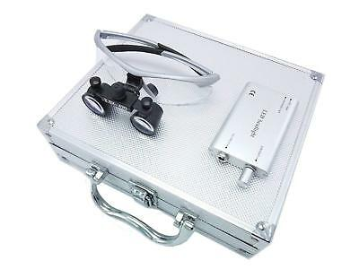 Dental Binocular Loupes 2.5x Magnifier Silver Led Headlight Aluminum Box