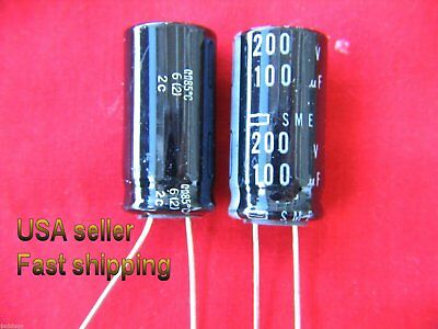2 Pcs - 100uf 200v  Radial Electrolytic Capacitors Free Shipping