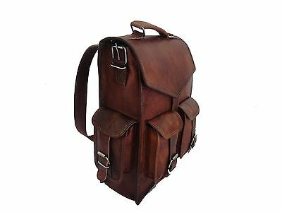 Real genuine men's leather backpack bag satchel briefcase laptop brown vintage