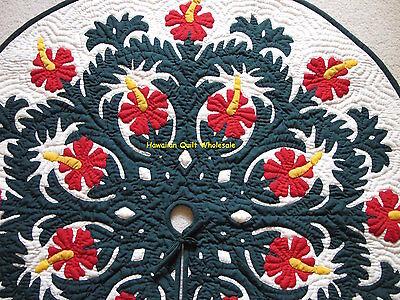 Hawaiian quilt  CHRISTMAS TREE SKIRT 100% hand quilted/ appliquéd Hibiscus 60