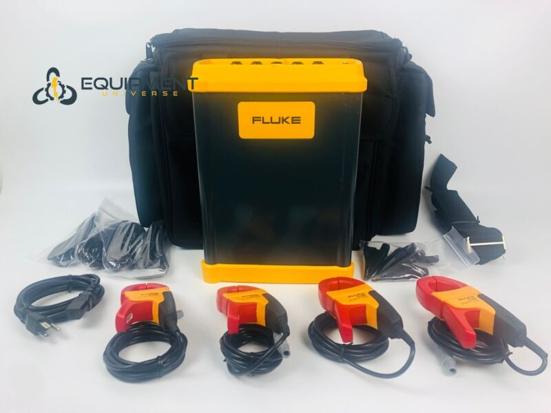 Fluke 1750 3 Phase Power Quality Logger Power In Case, Clamps and Accessories