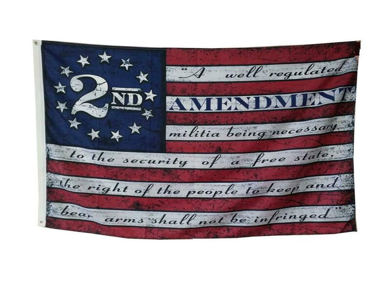 Second 2nd Amendment Vintage American Flag Banner USA Second 2A 3X5FT