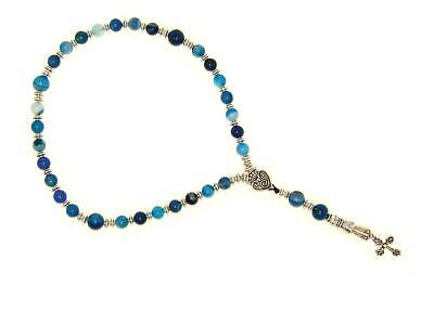 0117 - Anglican Prayer Beads, Rosary, Chaplet 8mm Blue Agate Gemstone Beads Anglican Rosary Beads