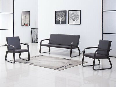 3 Pcs Sofa Set Reception Room Office Chair Guest Sofa Waiting Bench Pvc Leather