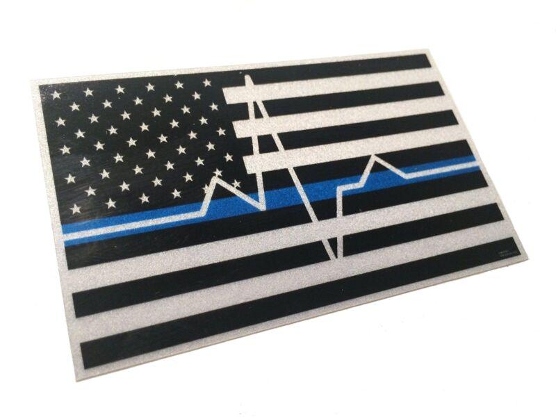 Thin White EMS EMT Paramedic Blue Line Reflective 3.75 X 2.25 Decal EKG Sticker