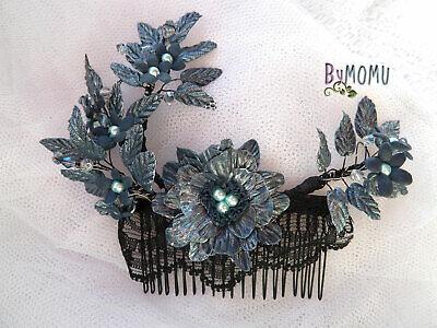 Tocado Azul Indigo Peineta Boda Flores Porcelana hecho a mano