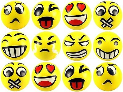12 pcs Fun Emoji Stress Balls Happy Face Emotion Squeeze Soft Hand Gift Toy