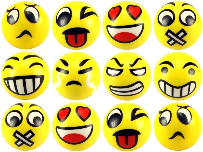 12 pcs Smiley 3 inch Stress Balls Happy Face Emotion Squeeze Soft Hand Gift Toy