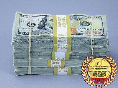 PROP MOVIE MONEY $50,000 TRUE BLUE AGED Blank Filler Pack Play Fake Prop Money
