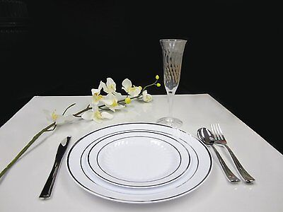 Plastic China Plate Silverware And Champagne Glasses Combo 48 Piece Set