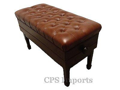 Duet GENUINE LEATHER Walnut Adjustable Concert Piano Bench on Rummage