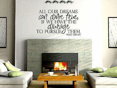 DREAMS CAN COME TRUE DISNEY Wall Art Decal Sticker Quote