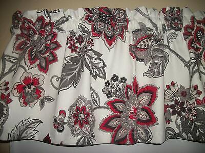 Red Black Gray retro Flower Waverly fabric window curtain topper (Flower Fabric Valance Curtain)
