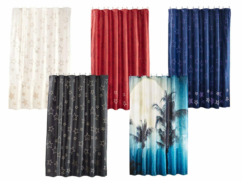 MIOMARE® Duschvorhang 180x200 cm mit 12 verstärkten Ösen und Befestigungsringen