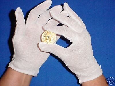 2 PAIR MENS WHITE COTTON LISLE COIN JEWELRY INSPECTION GLOVES PHOTO FILM GOLD