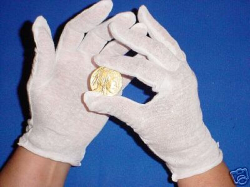 5 PAIR MENS WHITE COTTON LISLE COIN JEWELRY INSPECTION GLOVES PHOTO FILM GOLD