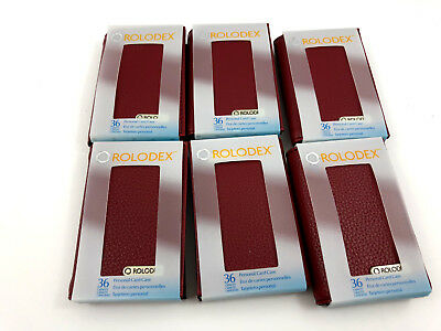 6 New Rolodex Business Card Holder Red Rose Pebbled 36 Card Capacity Free Ship