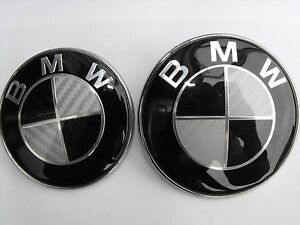 BMW CARBON FIBRE BONNET & BOOT BADGE 82mm/73mm 1 3 5 6 7 Series X3 X5