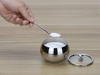 Sugar Bowl With Glass Lid And Spoon Stainless Steel For Home Hotel Party Buffet