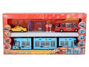 DICKIE City Liner Spielzeug Set Straßenbahn Bus Taxi Haltestelle Stadt NEU