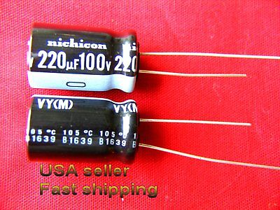 3pc 220uf 100v Nichicon Electrolytic Capacitor Free Shipping