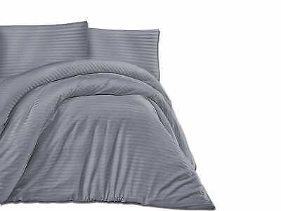 Exklusiv Set 180x200cm Satin Baumwolle Bettwäsche Bettgarnitur 3tl, grau