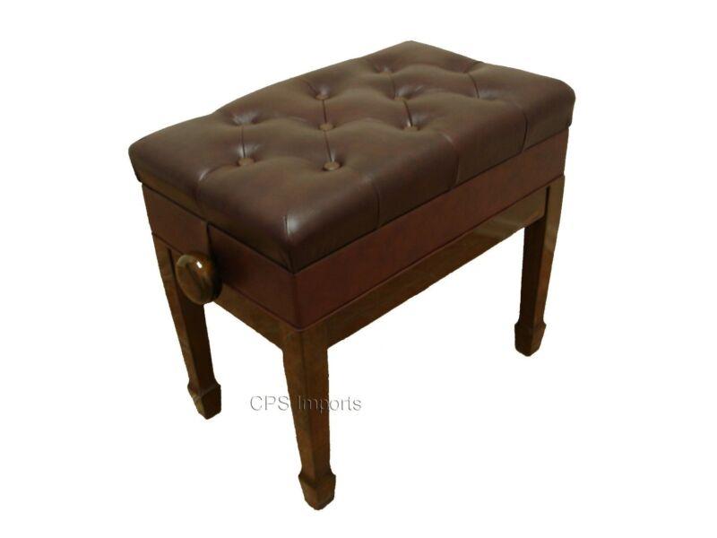 GENUINE LEATHER Walnut Adjustable Artist Piano Bench/Stool/Chair with Storage