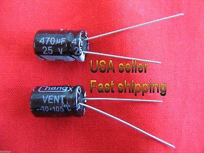 4 pcs - 470uf 25v  105C electrolytic capacitors FREE SHIPPING (blk)