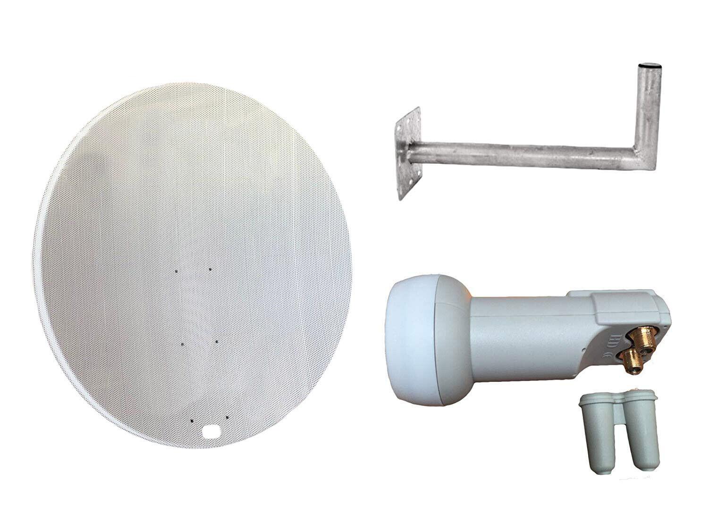 Universal 120CM Netz Satellitenschüssel Mit Wandhalterung & Doppel LNB Für Dvb-T