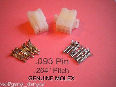6 Circuit Connector - Complete Molex Wire Conn. W.093 Pins - Wlock .264