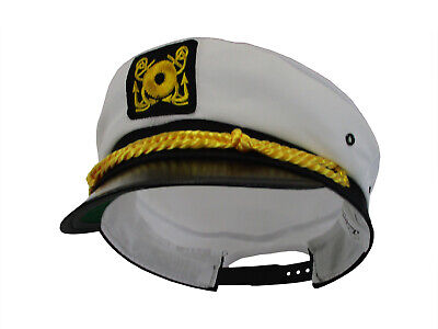 Adjustable Yacht Cap White Captain Costume Accessory Hat Child Sea Skipper