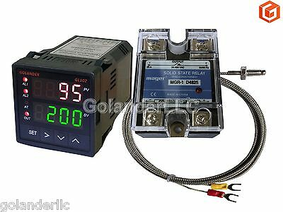 Dual Display Digital Pid Fc Temperature Controller K Thermocouple 25a Ssr