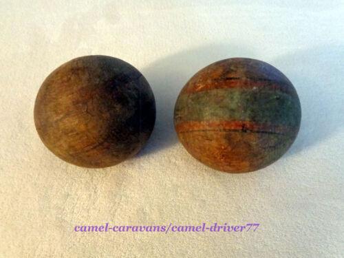 2 Antique Vintage WOODEN Croquet Balls Wood Replacement PRIMITIVE Decor Rustic