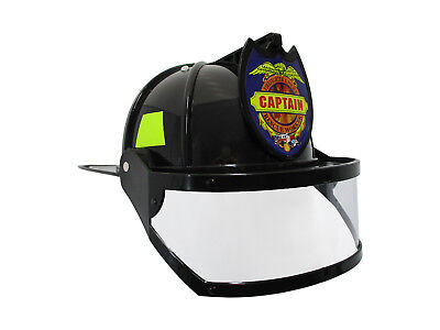 Adult Child Fire Chief Firefighter Fireman Black Helmet with Visor Costume](Adult Fireman Costumes)
