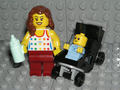 LEGO Baby Minifigure Mom Stroller Shower Cake Topper Decoration - Lego Baby Shower