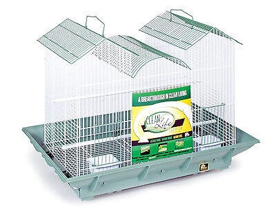 Prevue Pet Products Clean Life Triple Roof Cage Green and Wh