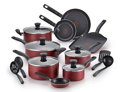 T-fal Nonstick 18 Piece COOKWARE SET Pots And Pans SET Red Dishwasher Safe